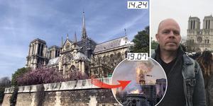 Jacke Sjödin tog en egen bild av Notre Dame – bara timmar innan branden utbröt. Bilder: Jacke Sjödin, TT