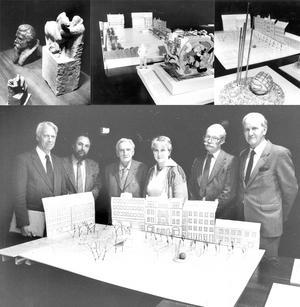 1984 ordnades en tävling där fem konstnärer bjöds in för att skapa en utsmyckning till Stortorget. Juryn, CG Lindelöw, Lenny Carlhäll, Felix Hatz, Monica Sunding, Bo Larsson och Sven Holmström var dock eniga när de tackade nej till alla förslagen.