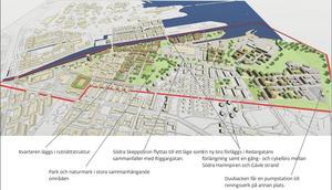 Ett av flera förslag på hur Norra Brynäs kan se ut i framtiden. Detta exempel bygger på att stadsdelen förtätas i ett rutnät, att Södra Skeppsbron får en ny dragning via nuvarande Riggargatan och att Duvbackens reningsverk flyttas till en annan plats.  Illustration: Gävle kommun