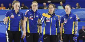 Kvartetten som spelar för guld. Agnes Knochenhauer, Sara McManus, Anna Hasselborg och Sofia Maberg.