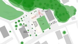Fastighetsägaren vill bygga bostäder i ett tiovåningshus intill Ica Jätten i Västergård. Det nya huset föreslås ligga ovanför parkeringen intill mataffären. Lastkajen flyttar lite längre bort jämfört med dagens placering, till bortre änden av parkeringen.Skiss: Södertälje kommun/Arklab