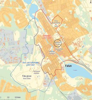 Det rödmarkerade visar område där kulturlager från medeltid och 1600-tal kan förväntas. Karta: Arkeologikonsult