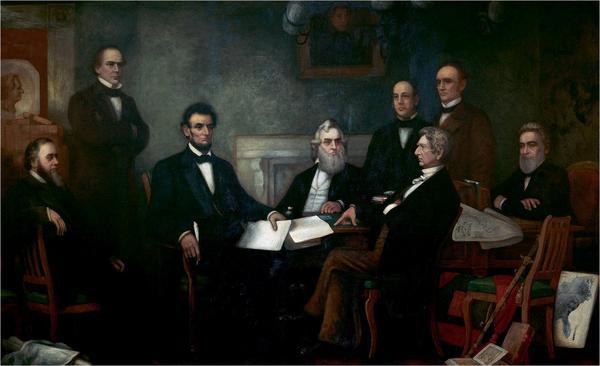 Abraham Lincoln förklarar alla slavar i USA fria 1863. Målning av Francis Bicknell Carpenter från 1864.