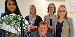 """""""Vi valde att stå på rätt sida av historien och kompromissa"""", skriver den politiska majoriteten i Borlänge kommun: Nicole Skoglund (OFA), Karin Örjes (C), Jan Bohman (S), Elina Brodén (MP) och Monica Lundin (L). Foto: Jerry Brodin/montage"""