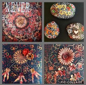 Maja Törnblom säljer akrylmålningar och målade stenar. Foto: Privat