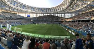 Om Patrik Johansson behöver slå ihjäl tid kan han gå och se FC Nizhny Novgorod som spelar fotboll i ryska andradivisionen. Stadion heter Nizhny Novgorod Stadium. Foto: Privat