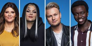 Dao, Astrid, Freddie och Tusse är de fem återstående deltagarna i Idol, förutom Gottfrid. Montage: Pressbilder TV4