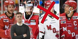 Tre av fyra spelare har just nu inte kontrakt med Modo. Från vänster: Tommy Enström, Anton Öhman och Tobias Enström. Tobias Ericsson (överkryssad) har avtal men ingår han i Modos framtidsplan? Foto: Erik Mårtensson//TT//Bildbyrån.