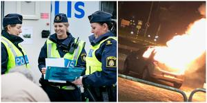 """""""Två bilar har brunnit på kort tid. Med Nykvarns mått mätt är det ovanligt"""", säger Sandra Pettersson. På bilden till vänster samlar hon och hennes kollegor in synpunkter från Nykvarnsborna 2016."""