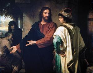 En ung rik man frågar Jesus hur han kan uppnå evigt liv. Målning av Heinrich Hofmann från 1889.