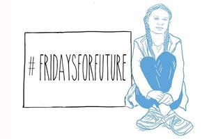 Ungdomsrörelsen Fridays for future startade efter att Greta Thunberg skolstrejkade utanför Riksdagshuset förra året. Illustration: Lena Ignestam.