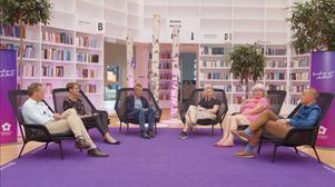Panelen som diskuterade besöksnäringen i Högskolan Dalarnas samtal.