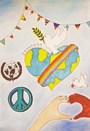 Mollys teckning innehåller olika fredssymboler. Bild: Annica Sjöström