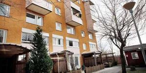 Från det här husets balkong på sjätte våningen kastades kvinnan mot den stenlagda uteplatsen nedanför.