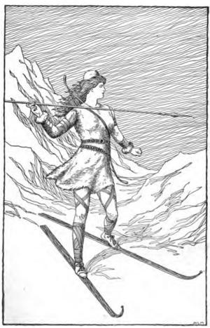 Jättinnan och jaktgudinnan Skade trivs bäst i fjällen. Illustration av Mary H. Foster från 1901.