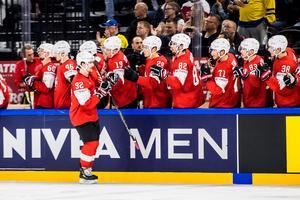 Schweiz Gaetan Haas jublar efter 1-3 målet.Foto: Petter Arvidson / BILDBYRÅN