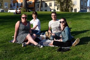 Jenny, Felix, Nicklas och Frida Flinta passade på att äta middag i solen.