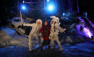 Karaktärer som vinterälvor och tomtar möter besökarna i en interaktiv sagovärld.