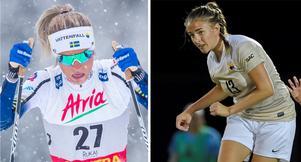 Syskonen Frida och Fanny Karlsson från Sollefteå valde olika spår. Frida skidspåret och Fanny valde att satsa på fotboll. Foto: TT/arkiv och Privat.