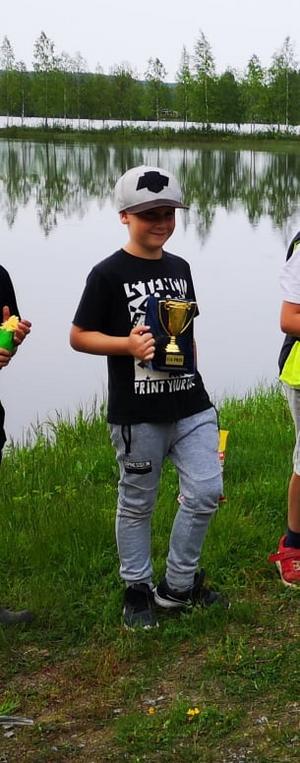 Joel Olsson, 6 år,  vann klassen för de yngre.