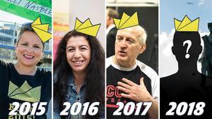 Annelie Näsberg, Wejdan Derky och Wolfgang Biedron har krönts tidigare – men vem blir årets köng i Sundsvall? Grafik: Robin Brinck