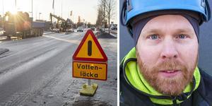 Roger Sjöquist är VA-tekniker på Östersunds kommun och har jobbat under natten med att stoppa vattenläckan på Hagvägen.