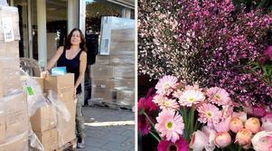 Eva Brodin har mycket att stå i inför öppningen av sin nya blomsterbutik i Järna centrum.