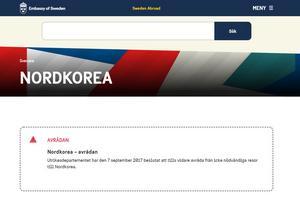 UD avråder från resor till Nordkorea. Bild: swedenabroad.se