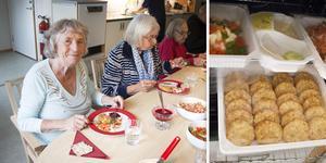 Ann-Britt Sundberg och Greta Ahlberg uppskattar maten de får.
