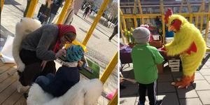 Ansiktsmålning och en kyckling som delar ut godispåsar – på påskafton blir det aktiviteter för barn upp till tolv år på Stadshusplatsen och Saluhallstorget i Nynäshamn.