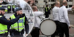 Nazistiska Nordiska motståndsrörelsens förstamajdemonstration i Ludvika i fjol. Bilden är ett montage.