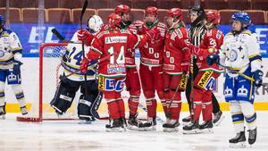 Bara Modo fick jubla på lördagskvällen i Tegera Arena. Foto: Daniel Eriksson/Bildbyrån.