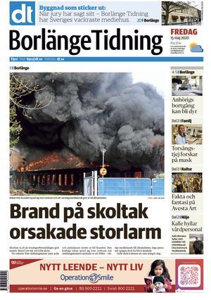 Borlänge Tidnings framsida den 15 maj.