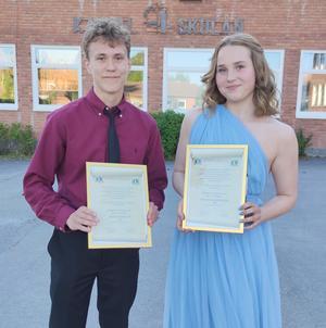 Lucas Kjellin och Felicia Dahlqvist fick stipendium av Lions i Brunflo.