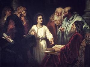 Den 12-årige Jesus bland de lärde i templet. Målning av Heinrich Hofmann från 1884.