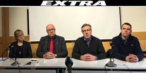 Kajsa Sjösvärd, beredskapsdirektör, Länsstyrelsen i Dalarna, Ulf Berg (M), regionstyrelsens ordförande, Anders Lindblom, smittskyddsläkare och Erik Degerman, verksamhetschef infektionssjukvård.