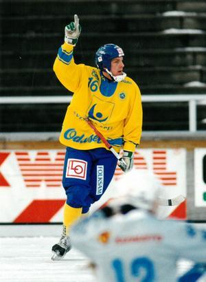 Michael Carlsson i landslagsdressen 1999. Foto: Arkiv Bildbyrån