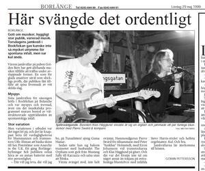 Artikel från Borlänge Tidning 29 maj 1999. Basisten Claes Hägglund och orgelgurun Pierre Swärd på en jamkväll i Rockfickan, Bolanche.
