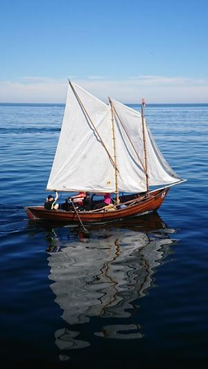 Gräsöbåten Vinterhamns besättning består av systrarna Sandra och Malin Mattsson samt Martin Larsson och Fabian Söderquist. Foto: Lars Nylén