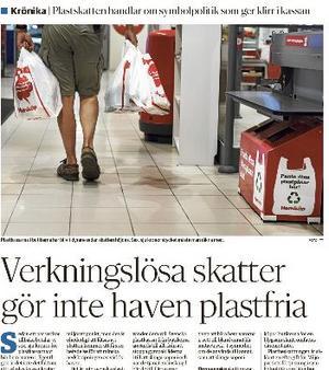 Therese Metz, kommunalråd för MP i Gävle i en replik på Karin Bergkvists krönika om plastpåseskatt.