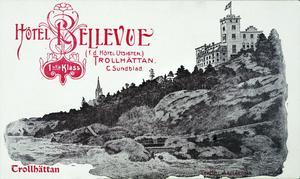 Vykort med Hotel Bellevue, Trollhättans kyrka till vänster. I förgrunden syns Helvetesfallen. Bild: Innovatum bildarkiv