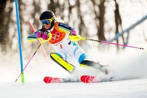 Frida Hansdotter ligger tvåa efter det första slalomåket.Foto: Joel Marklund/BILDBYRÅN