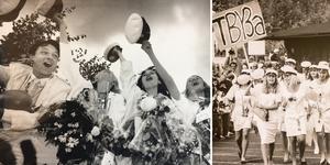 På bilden till höger: Johan Erling, Sonja Collin, Anne-Marie Roppanen och Maria Persson sjunger ut 1991. På bilden till vänster: 1991. Här kommer TBy3A på väg mot rutschkanan och livet där bakom. Maria Persson bär skylten med klassens namn.