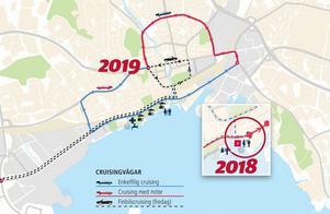 På förra årets karta såg finbilscruisingen ut att löpa förbi hamngatan för att sedan fortsätta runt i den första rondellen och tillbaka. Något arrangören inte hade tillstånd till. På årets karta är detta ändrat.