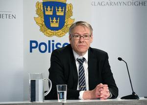 Chefsåklagare Krister Petersson håller digital pressträff om Palmeutredningen och berättar att han kommit fram till att den så kallade Skandiamannen sköt Olof palme 28 februari 1986. Bild: Polisen