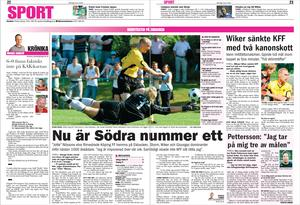 BBLAT-arkiv från derbyt på vårsäsongen. En match som Arboga Södra vann med förkrossande 6–0. KFF:s målvakt Frank Pettersson tog på sig tre av Södras mål.