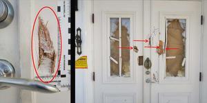 65-åringen hävdar att han sköt Laxåbon när denne kom och slog sönder hans entrédörr med en yxa. Bild från polisens förundersökning.