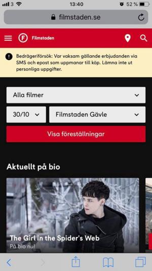 Filmstaden varnar för bedrägerierna på sin hemsida.