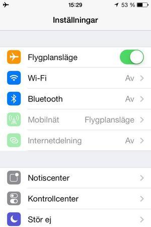 Flygplansläge på mobiltelefon.Bild: Handout