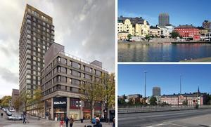 Det planerade höghuset på Garvaregatan ska få 21 våningar. Bilderna är hämtade från förslaget till ny detaljplan. Illustrationer: Strategisk arkitektur